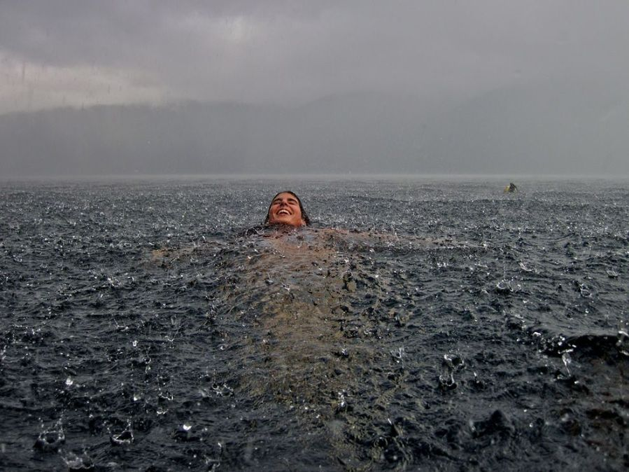 Woman Storm Swimming