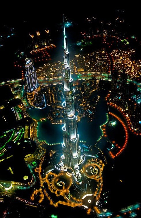 Tallest Building in The World, View From Helicopter at Night