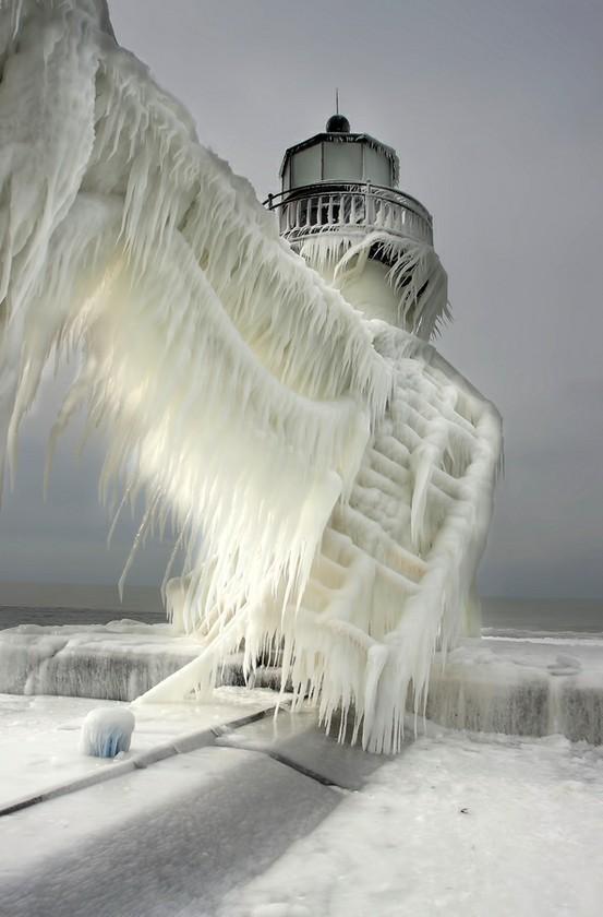 Lighthouse Ice Snow