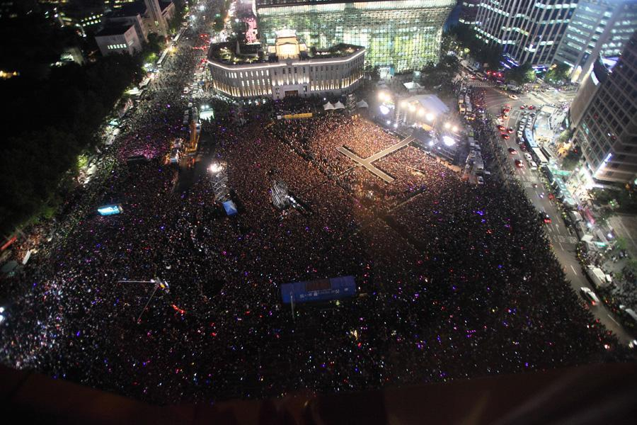 Aerial View of Music Concert in Seoul