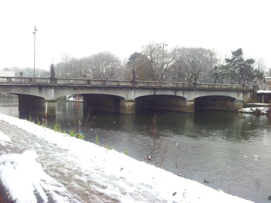 Snow on Cardiff street bridge.