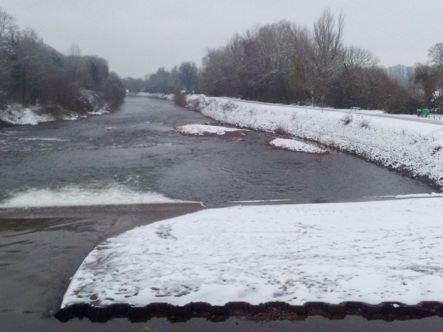 Taff river in Cardiff snow